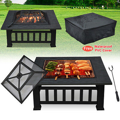 BBQ Fire Pit Table Grill Garden Patio Camping Heater Fireplace Brazier Outdoor