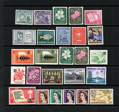 (Ref-8651) Norfolk Island - 1956-69 Selection of Mint (Hinged) Including Sets