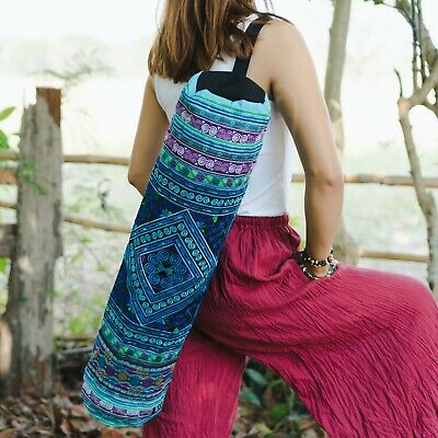 Ethnic Handmade Yoga Mat Bag with Diamond Hmong Embroidered in Blue