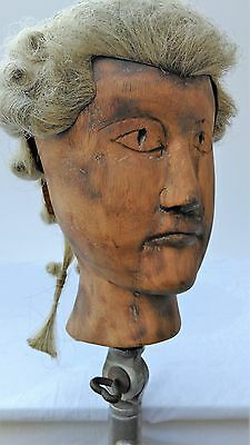 Antique wooden mannequin block head ,for wigs-hats,carved face,wig makers form