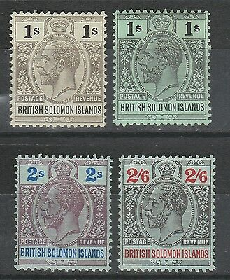 British Solomon Islands 1914 Kgv 1/- & Shade 2/- And 2/6 Wmk Mult Crown Ca