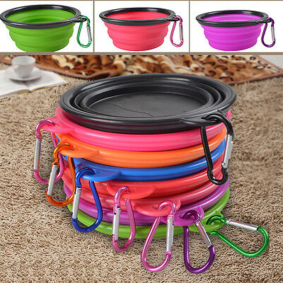 Travel Portable Collapsible Pet Dog Feeding Food Silicone Bowl Dish Feeder New