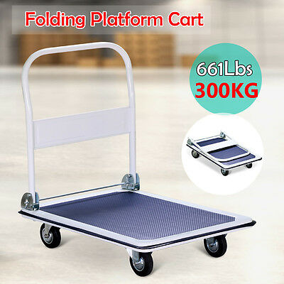 300kg Folding Heavy Duty Platform Trolley Hand Truck Foldable Cart Industrial AU