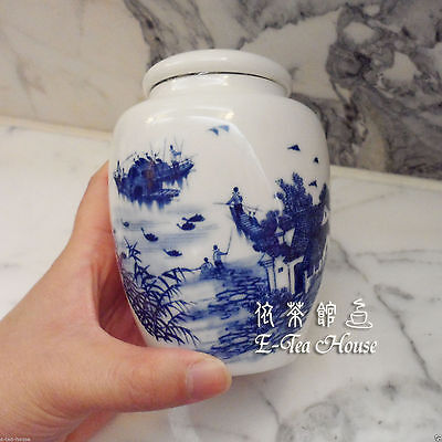 Chinese Blue Fishing Boat Porcelain Tea Leaf Container / Jar / Caddy / Canister