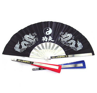Chinese Kung Fu Martial Arts Tai Chi Dragon Stainless Steel Frame Fan