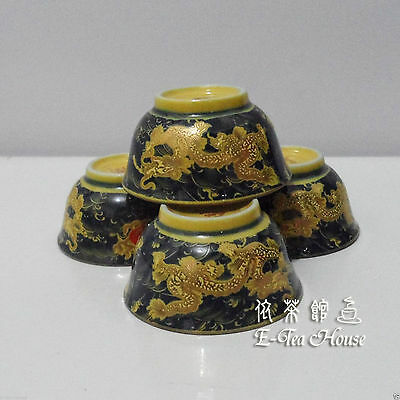 Traditional Chinese Green + Yellow & Gold Dragon Tea Cup x 4pcs ~5.5Dia x 3H cm