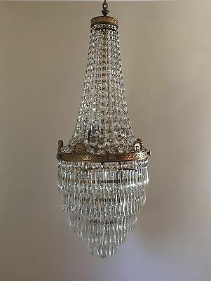 "Antique French Empire Brass Beaded Basket Crystal Chandelier Hall Foyer 40"" Drop"