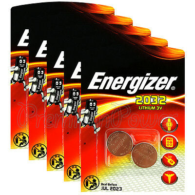 10 x Energizer Lithium CR2032 batteries 3V Coin cell DL2032 EXP:2023 Pack of 2