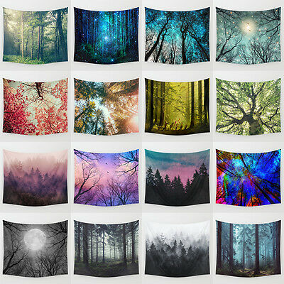 59 x 51 Inches Beautiful Multicolor Forest Wall Decor Polyester Tapestries