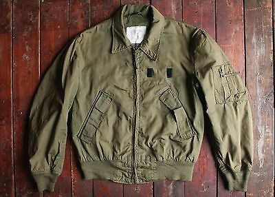 Vtg '83 Us Army Green Nylon Lightweight Military Flyers Jacket Usgi Reg Medium