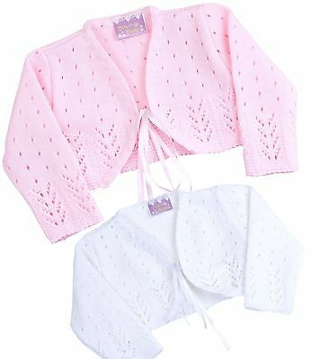 BABYPREM Baby Girls Clothes Pink White Knitted Fancy Bolero Cardigan Wedding