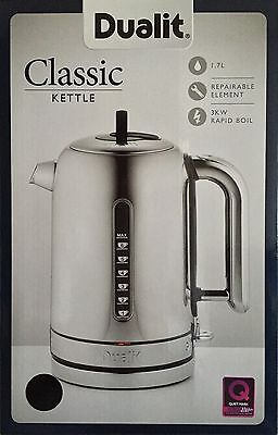 Dualit Classic Kettle Polished Stainless Steel 72815 Black Trim NEW & BOXED