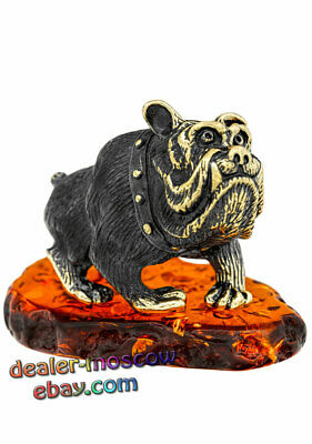 Bronze Solid Brass Amber Figurine Bulldog Aristocrat IronWork Miniature 1339