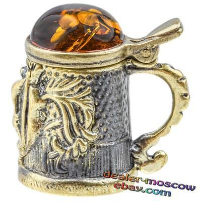 Bronze Solid Brass Amber Thimble Cup Beer IronWork Figurine Miniature Gift