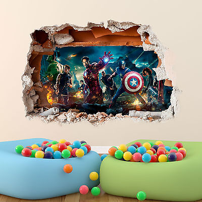 Marvel Avengers Wall Sticker 3D Boys Girls Bedroom Vinyl Wall Art Decal