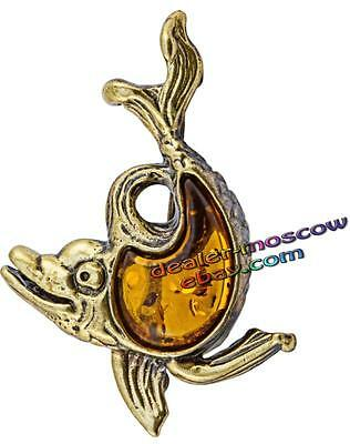 Bronze Solid Brass Amber Female Ornament Brooch Black Sea Dolphin IronWork 1290