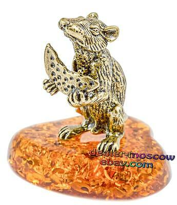 Bronze Solid Brass Baltic Amber Figurine Rat with Cheese IronWork Miniature