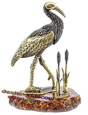 Bronze Solid Brass Baltic Amber Figurine Stork in Canes IronWork 1129HE