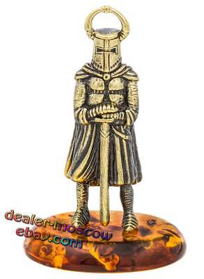 Bronze Solid Brass Baltic Amber Figurine Crusader Knight 3 Sword Statuette