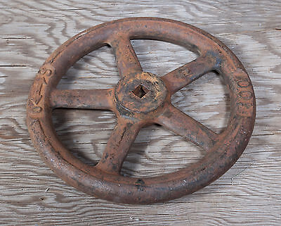 "Valve Handle 5 Spoke Steampunk 8.75"" S-O 100 C Cast Iron Rusty 130897"