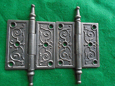 Pair Vintage Eastlake Hinges  3.5  X 3.5 Steeple Top - Very Clean (4478-C)