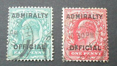 GB KEVII SG O107-108 - Admiralty Official both with short M, very fine used