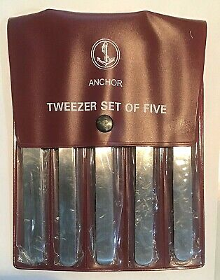 Brand New Watchmakers Set (5) of Assorted Stainless Tweezers-Free Shipping!