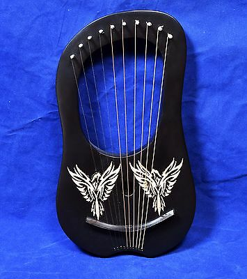 New Black Lyre Harp 10Metal String Rosewood Hand Engraved With Golden Sapparows
