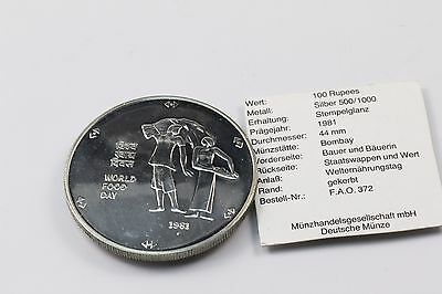 India 100 Rupees 1981 FAO World Food Day (Welternährungstag) Silber Ag