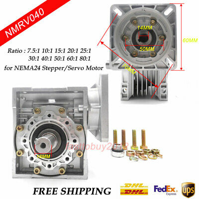 NEMA24 Worm Speed Reducer Gearbox 10 15 20 25 30 40 50 60 100:1 fr Stepper Motor