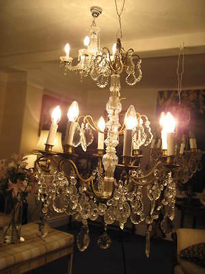 French Antique Large 8 Branch Chandelier & Crystal Pedagogues Drops /3849