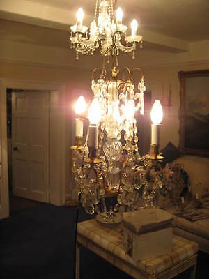 French Vintage - Antique 4 Branch Chandelier & Crystal Drops Outstanding  /3844