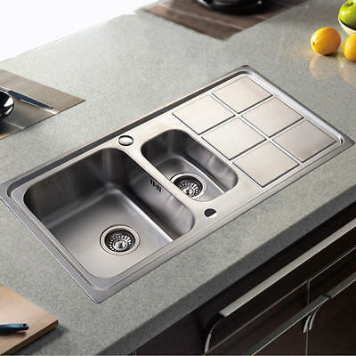 New Double 1.5 Bowl Stainless Steel Kitchen Sink With Complete Plumbing Kit Top