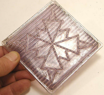 Antique Purple Glass Prism Tile American 3-Way Snowflake Pattern Luxfer Era