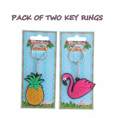 Pack Of Two Key Rings - One Flamingo One Pineapple - Stocking Fillers - Gifts