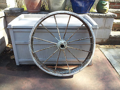 "28"" Cast Iron Wagon 12 Spoke Steel Wheel Farm Garden Indoor/Outdoor Yard Decor"