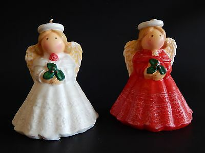 """Vintage Candles 2 Angels Red White 4"""" Tall Unmarked Unused"""
