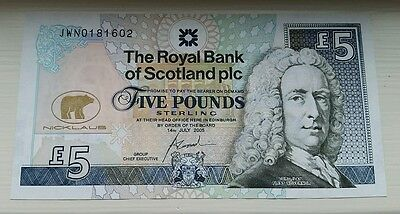 2005 Royal Bank of Scotland Five Pounds £5 Jack Nicklaus Commemorative Note UNC