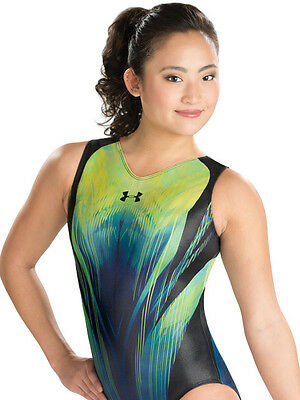 New Under Armour Gymnastics Bodysuit Leotard Black Green 6321 Adult Medium AM