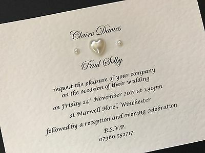 25 x Personalised Handmade Wedding Day / Evening Cards Invitations Pearls Heart