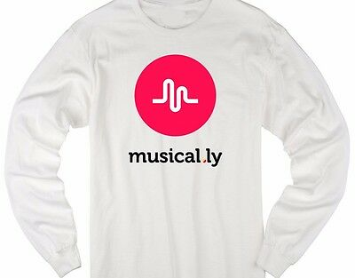 Musical.ly Graphic design kids youth size white long sleeve t shirt T-73LS