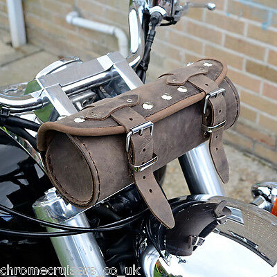 Moto Cuir Marron Sacoche Outils Bag Harley Davidson Softail Fat Boy Dyna