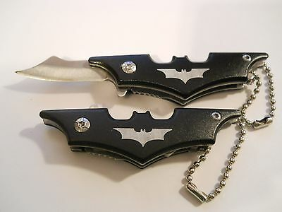 BLACK BATMAN KEYCHAIN POCKET KNIFE 440 Steel Locking Blade Anodized Aluminum