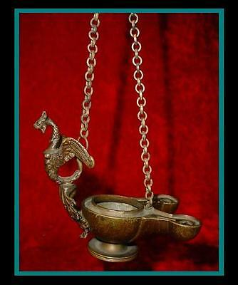 FANTASTIC Antique ROMAN / GREEK Bronze HANGING OIL LAMP with Gargoyle on Handle