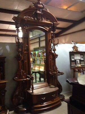 Antique Exceptional Walnut Hall Tree Tall Americam Victorian Era