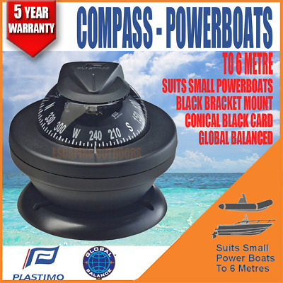 Boat Compass Marine Offshore 55 Compass For Up To 6m Powerboats Black Plastimo