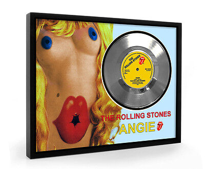 Rolling Stones Angie Framed Silver Disc Display Vinyl (C1)