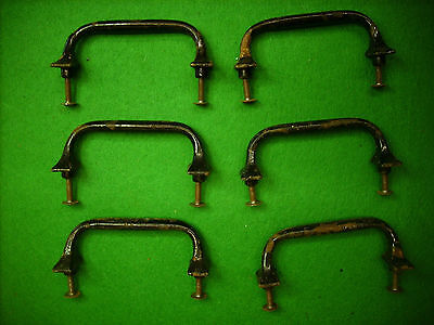 "6  Vintage Cast Iron Drawer Pull - School Salvage  3 1/2"" Center    (2861)"