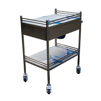 Portable Big Drawer UC913 Medical Dental Lab Cart Trolley Unique Stainless Steel