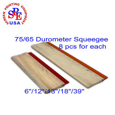 "8pcs For Each 75/65 Durometer Silk Screen Printing Squeegee6""/12""/13""/18""/39"""